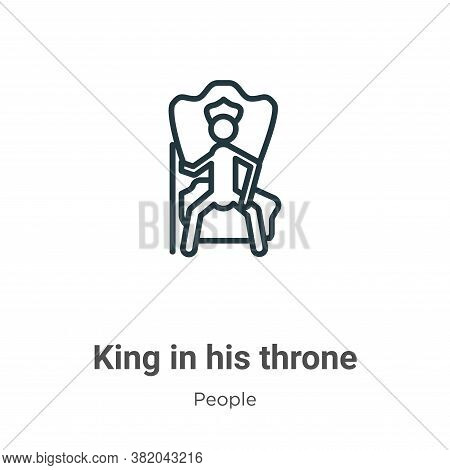 King in his throne icon isolated on white background from people collection. King in his throne icon