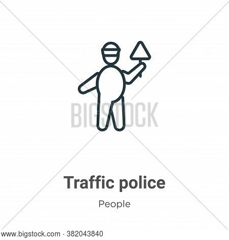 Traffic police icon isolated on white background from people collection. Traffic police icon trendy