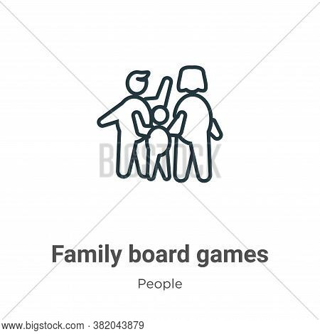Family board games icon isolated on white background from people collection. Family board games icon