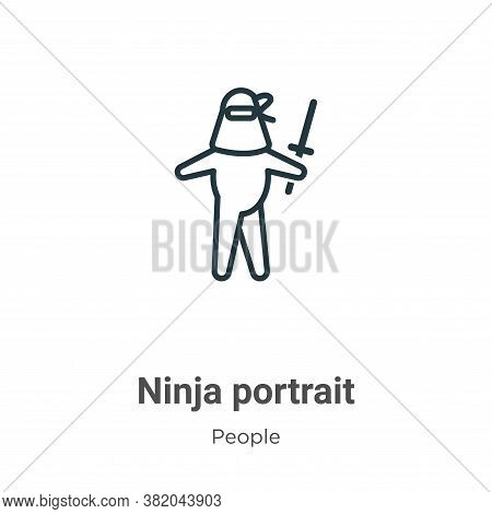 Ninja portrait icon isolated on white background from people collection. Ninja portrait icon trendy