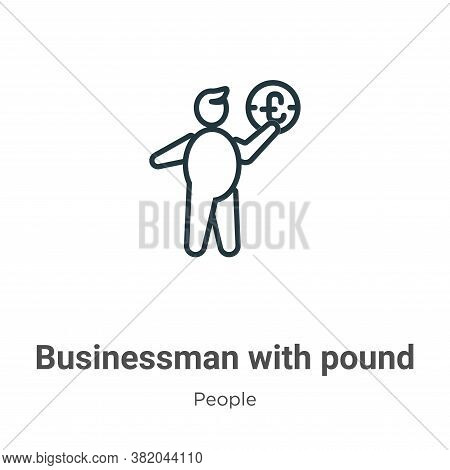 Businessman with pound currency sign icon isolated on white background from people collection. Busin