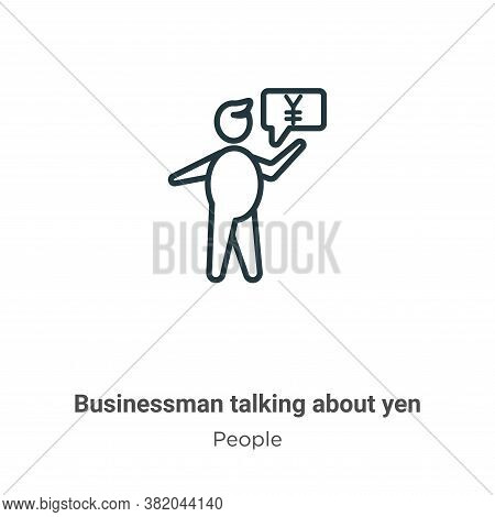 Businessman talking about yen icon isolated on white background from people collection. Businessman