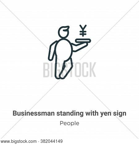 Businessman standing with yen sign icon isolated on white background from people collection. Busines