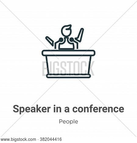 Speaker in a conference icon isolated on white background from people collection. Speaker in a confe