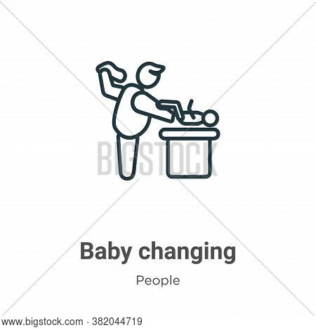 Baby changing icon isolated on white background from people collection. Baby changing icon trendy an