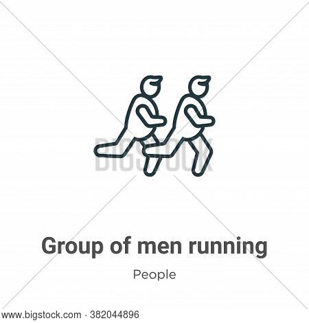 Group of men running icon isolated on white background from people collection. Group of men running