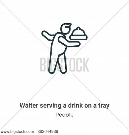 Waiter serving a drink on a tray icon isolated on white background from people collection. Waiter se