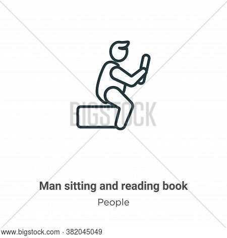 Man sitting and reading book icon isolated on white background from people collection. Man sitting a