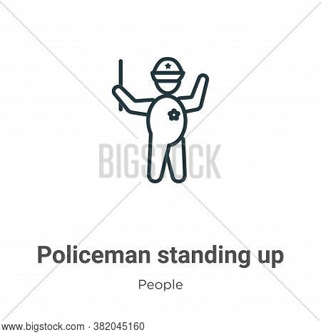Policeman standing up icon isolated on white background from people collection. Policeman standing u