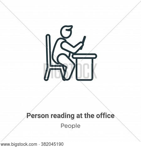 Person reading at the office icon isolated on white background from people collection. Person readin