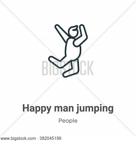 Happy man jumping icon isolated on white background from people collection. Happy man jumping icon t
