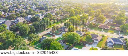 Panorama Aerial View Urban Sprawl Subdivision Near Dallas, Texas, Usa Row Of Single Family Homes Lar