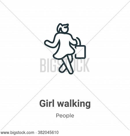 Girl walking icon isolated on white background from people collection. Girl walking icon trendy and