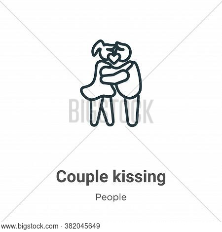 Couple kissing icon isolated on white background from people collection. Couple kissing icon trendy