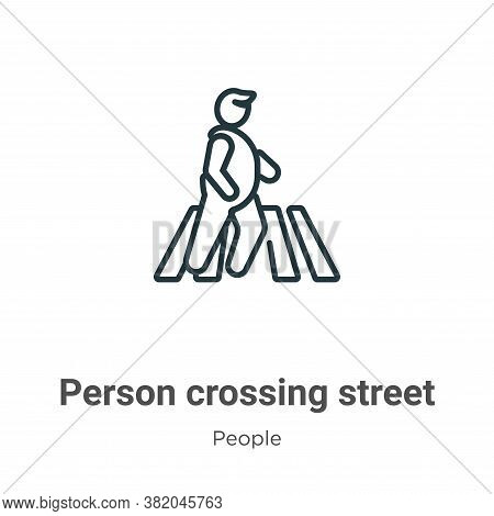 Person crossing street on crosswalk icon isolated on white background from people collection. Person