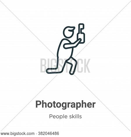 Photographer icon isolated on white background from people skills collection. Photographer icon tren