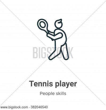Tennis player icon isolated on white background from people skills collection. Tennis player icon tr