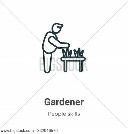 Gardener icon isolated on white background from people skills collection. Gardener icon trendy and m