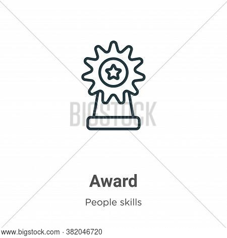 Award icon isolated on white background from people skills collection. Award icon trendy and modern