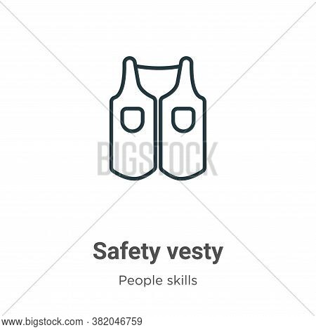 Safety vesty icon isolated on white background from people skills collection. Safety vesty icon tren
