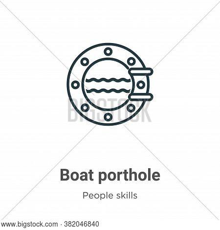 Boat porthole icon isolated on white background from people skills collection. Boat porthole icon tr