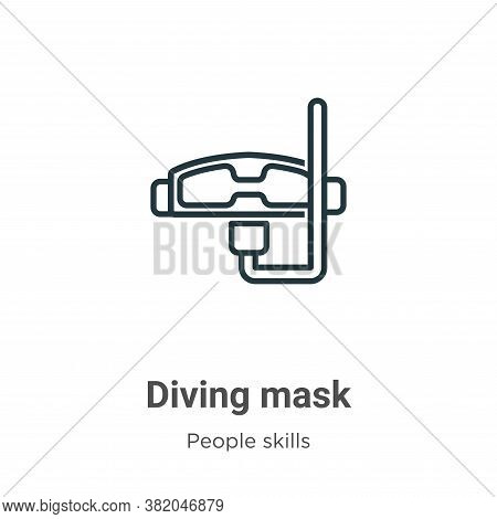 Diving mask icon isolated on white background from people skills collection. Diving mask icon trendy