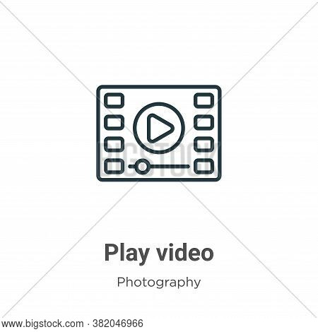Play video icon isolated on white background from photography collection. Play video icon trendy and