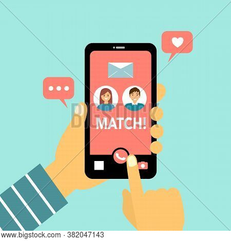 Online Dating Couple In Love In The App On The Phone Concept Vector Illustration. They Are Match. Ha