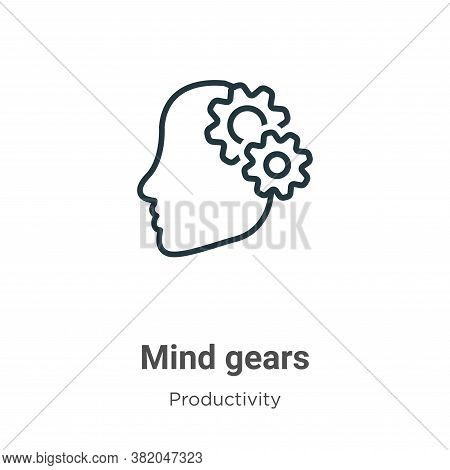 Mind gears icon isolated on white background from productivity collection. Mind gears icon trendy an