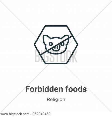 Forbidden foods icon isolated on white background from religion collection. Forbidden foods icon tre