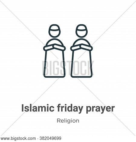 Islamic friday prayer icon isolated on white background from religion collection. Islamic friday pra