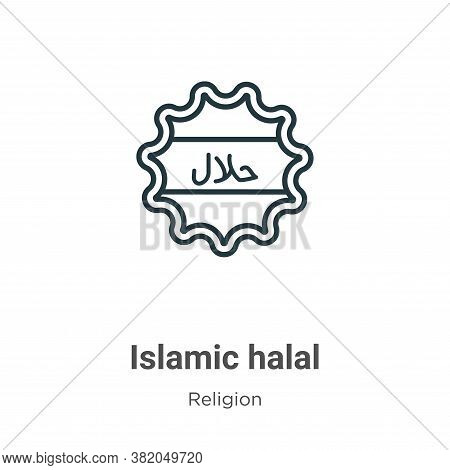 Islamic halal icon isolated on white background from religion collection. Islamic halal icon trendy