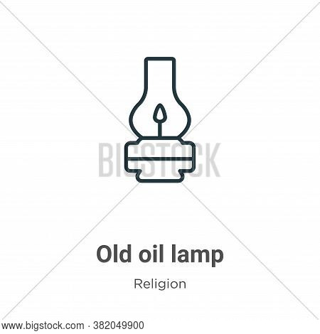 Old oil lamp icon isolated on white background from religion collection. Old oil lamp icon trendy an