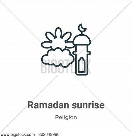 Ramadan sunrise icon isolated on white background from religion collection. Ramadan sunrise icon tre