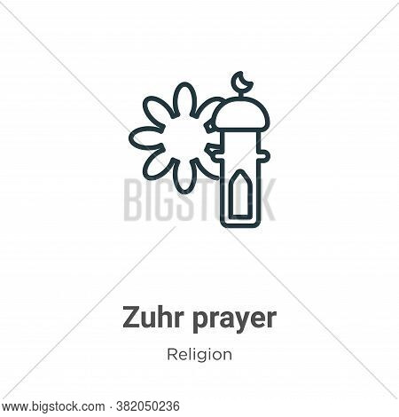 Zuhr prayer icon isolated on white background from religion collection. Zuhr prayer icon trendy and