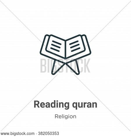 Reading quran icon isolated on white background from religion collection. Reading quran icon trendy
