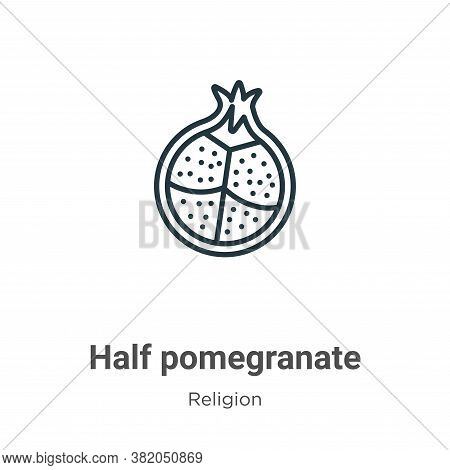 Half pomegranate icon isolated on white background from religion collection. Half pomegranate icon t