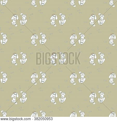 Seamless Background With Cute Animals. White Dogs With Protruding Tongue And Hearts On A Collar - A