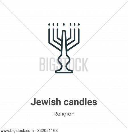 Jewish candles icon isolated on white background from religion collection. Jewish candles icon trend