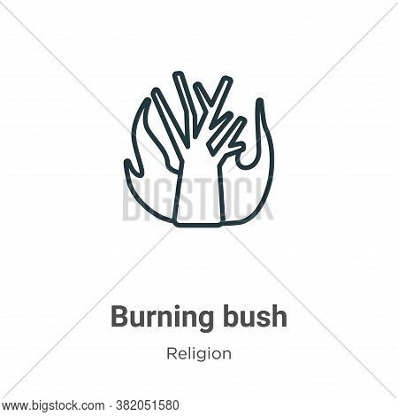 Burning bush icon isolated on white background from religion collection. Burning bush icon trendy an