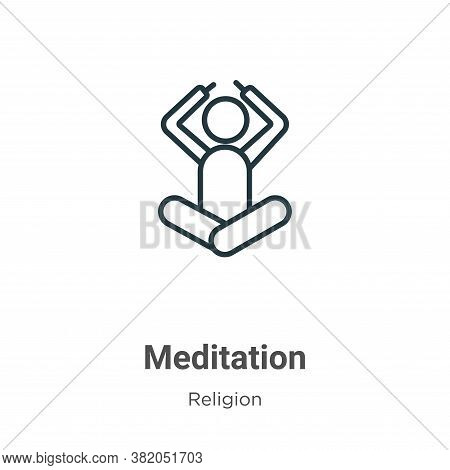 Meditation icon isolated on white background from religion collection. Meditation icon trendy and mo