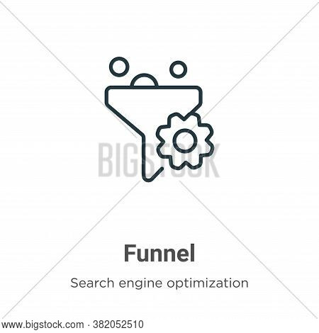 Funnel icon isolated on white background from search engine optimization collection. Funnel icon tre