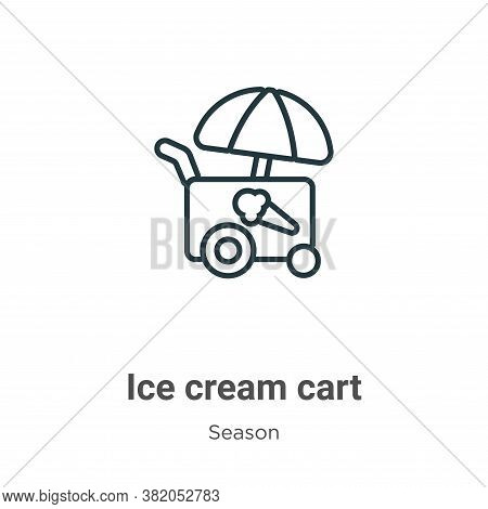 Ice cream cart icon isolated on white background from season collection. Ice cream cart icon trendy