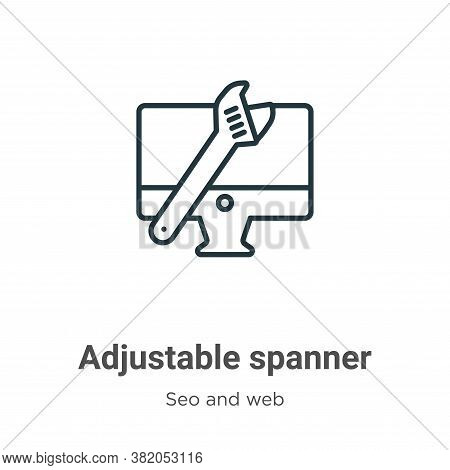 Adjustable spanner icon isolated on white background from seo and web collection. Adjustable spanner