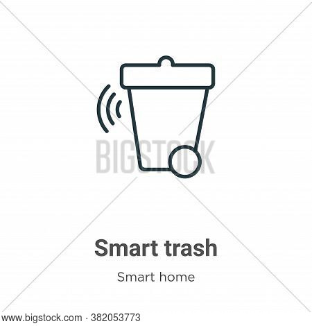 Smart trash icon isolated on white background from smart home collection. Smart trash icon trendy an