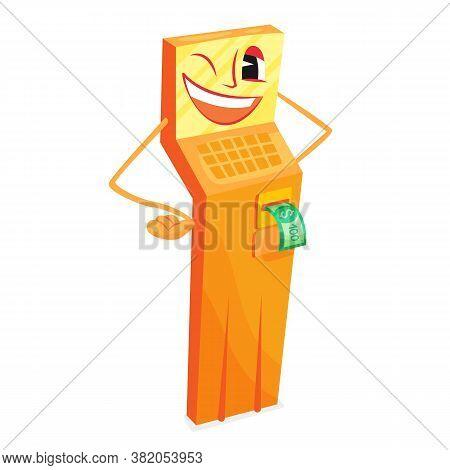 Tall Yellow Cartoon Atm Cash Refill Laughing, Vector Illustration. Money Character High Cartoon Term