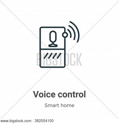 Voice control icon isolated on white background from smart house collection. Voice control icon tren