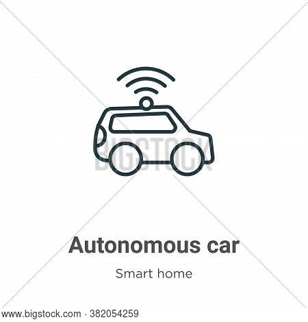 Autonomous car icon isolated on white background from smart house collection. Autonomous car icon tr