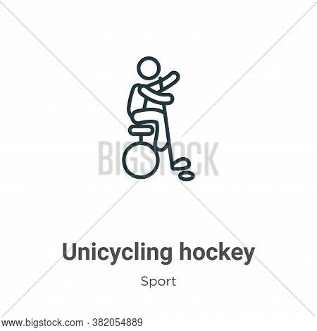 Unicycling hockey icon isolated on white background from sport collection. Unicycling hockey icon tr