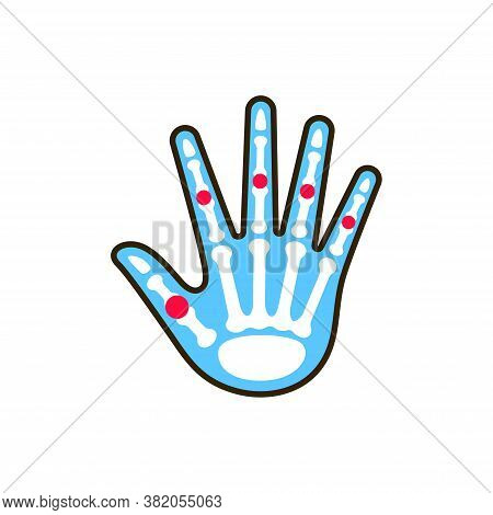 Palm Arthritis Line Color Icon. Inflammation Joint. Sign For Web Page, Mobile App, Button, Logo. Edi